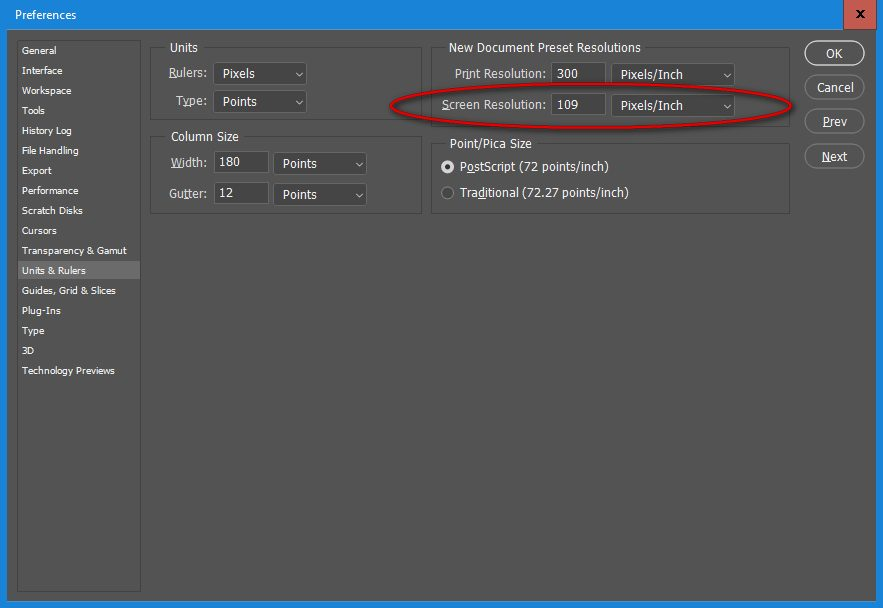 photoshop preferences window - screen resolution values